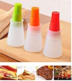Baiouda Kitchen Oil Brush Barbacoa Storage Bottles Silicone Oil Bottle with Brush for Barbecue Cooking Baking Pancake BBQ Tools Kitchen Accessories 2 Pack