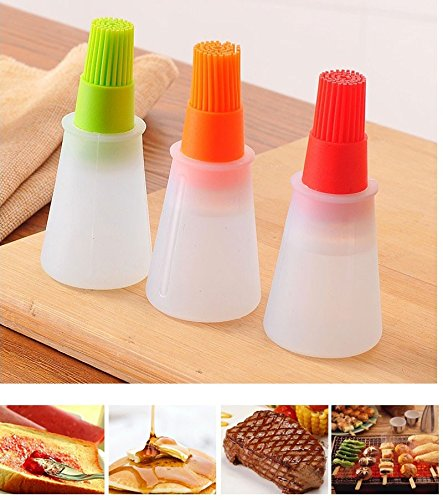Baiouda Kitchen Oil Brush Barbacoa Storage Bottles Silicone Oil Bottle with Brush for Barbecue Cooking Baking Pancake BBQ Tools Kitchen Accessories 2 Pack by Baiouda