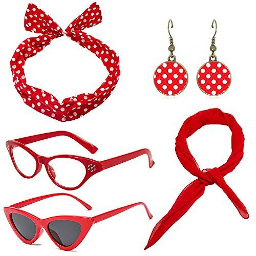 1950's Womens Costume Accessories Set - 50s Chiffon Scarf,Cat Eye Glasses,Bandana Tie Headband,Drop Dot Earrings (Red Bandana Halloween Outfit)