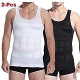 2 pc Mens Slim Body Shaper Compression Elastic Undershirt, Tank Vest Shapewear, Abs