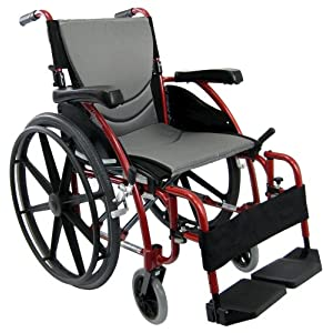 Karman Healthcare Ergonomic Wheelchair S-115 Mag Wheels, Rose Red, 20″ x 17″, 27 Pound