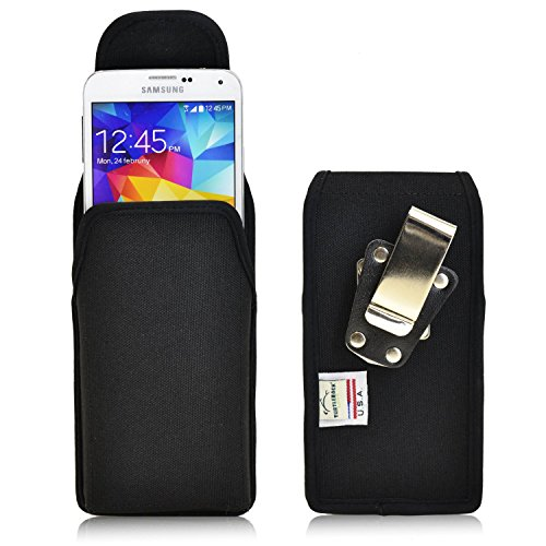 (Turtleback Belt Clip Case Made for Samsung Galaxy S5 V Black Vertical Holster Nylon Pouch with Heavy Duty Rotating Belt Clip Made in)