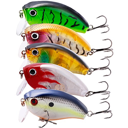 Reusable Target Balls (Sougayilang Crankbait Fishing Lures Shallow Square Bill Bass Lure Diving Crankbaits for Bass Fishing 5PCS with Box)
