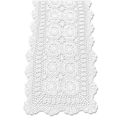 KEPSWET Cotton Handmade Crochet Lace Table Runner White Rectangle Coffee Table Dresser Decor (14x60 inch)