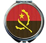 Rikki Knight Angola Flag on Distressed Wood Design Round Compact Mirror