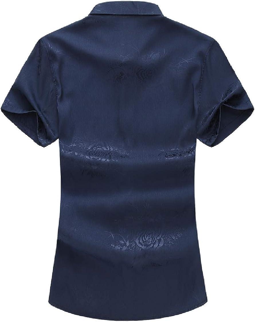 SELX Men Big /& Tall Jacquard Short Sleeve Button Down Slim Fit Shirts