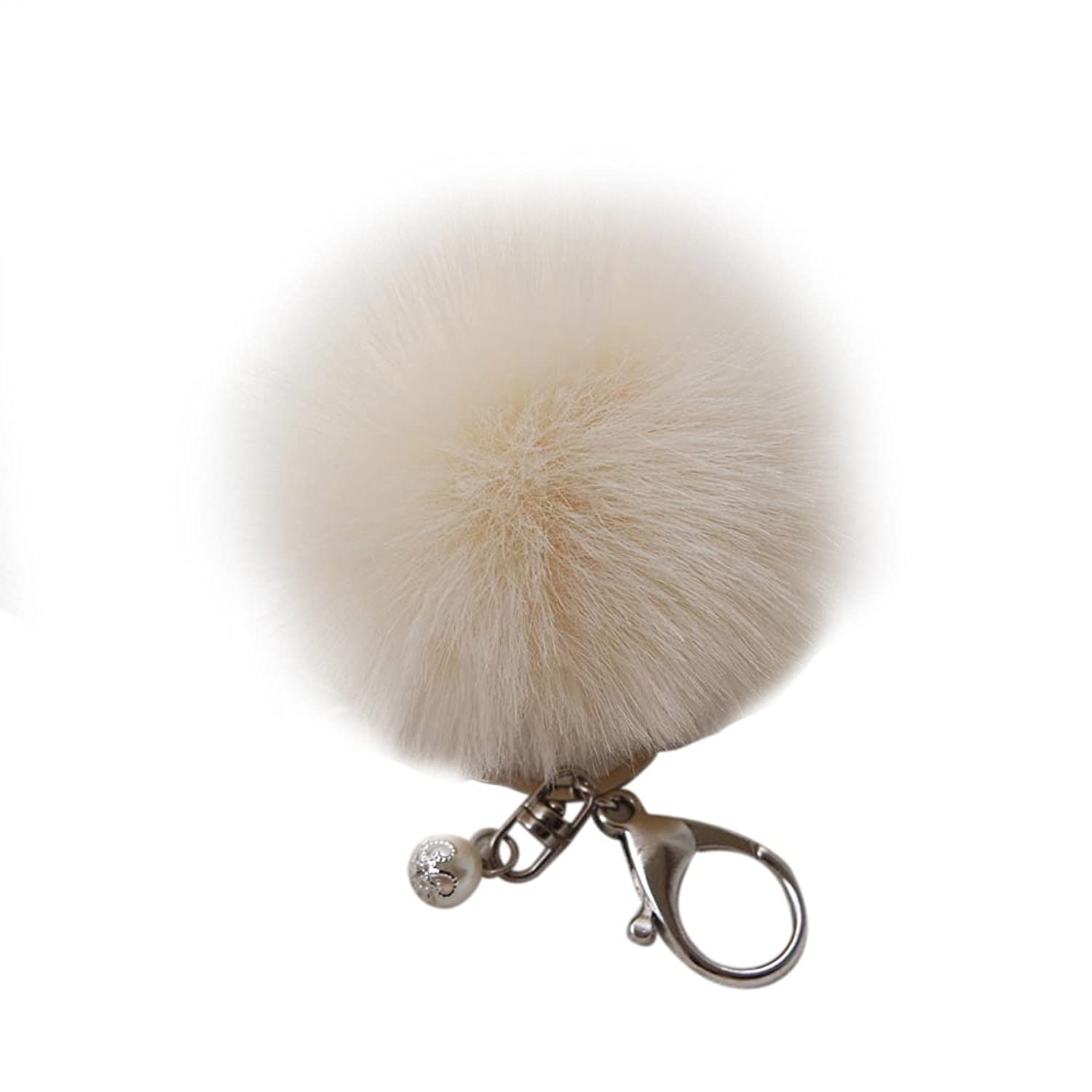 New Faux Rabbit Fur Ball Keychain Bag Plush Car Key Ring Car Key Pendant Chaveiro 17 Color Fur Keychain #48^White