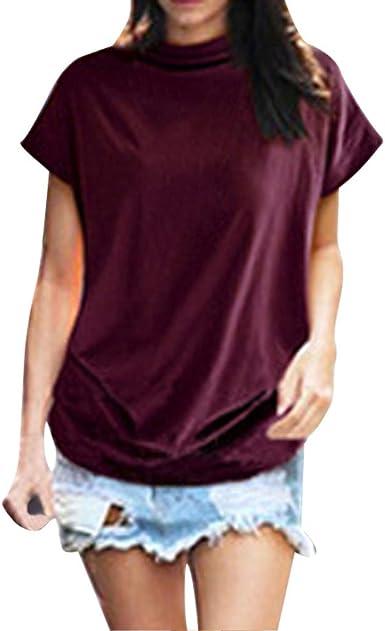 OPAKY Cuello Alto para Mujer Manga Corta Algodón Sólido Blusa Informal Top T Shirt Tallas Grandes Las Mujeres Ocasionales Camisetas y Tops Blusa para Mujer: Amazon.es: Ropa y accesorios