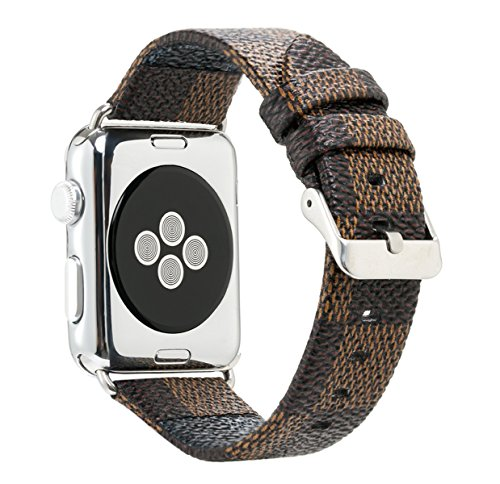 38mm for Apple Watch Band PU Leather iWatch Strap Sport Leisure Style iWatch Band Lattice Apple Watch Band,3 Colors for Apple Watch Series 3 2 1 + Connector Metal Classic Buckle (Brown, 38mm)