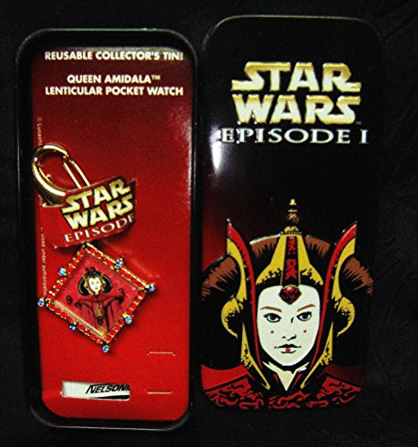 Star Wars Queen Padme Amildala Collector Timepiece Clip On WATCH with Faux Rubies and Blue Topaz Gemstones and Durable Clip On Clasp-Made by Nelsonic for Lucas FilmsEXTREMELY RARE-Current Mkt Value $69 & Up-New in Illustrated Collector Tin