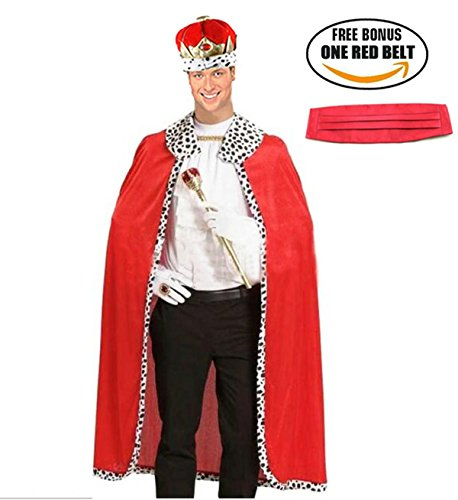 [Halloween King Robe Crown Set Red Royal Scepter Costume And Accessories Set] (King Robe & Crown Set Adult)