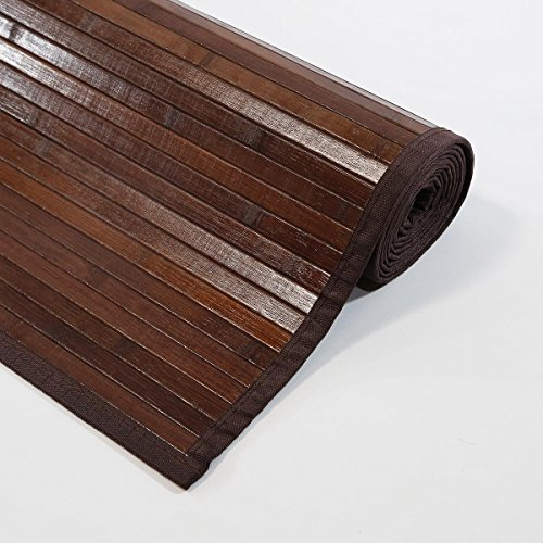 "Venice Natural Bamboo 6 X 9 (72""x108"") Floor Mat, Bamboo Area Rug Indoor Carpet, Elegant Walnut Dark Brown Color Finish, Non Skid Backing, Floor Runner Mat for Living room, Hallway, Kitchen, Office"