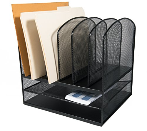 AdirOffice Mesh Desk Organizer - Desktop Paper-File-Folder Organizer-Holder - Letter Tray - 6 Vertical/ 2 Horizontal Sections - Black - Six Horizontal Sections