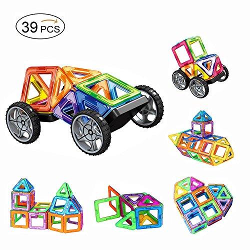 Magnetic Building Blocks, AMZtronics 39 Pieces Set Magnetic Blocks Toys Educational Building Tiles Blocks Stack Toys Set