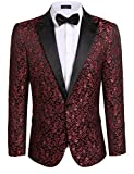 Coofandy Mens Floral Party Dress Suit Stylish Dinner Jacket Wedding Blazer One Button Tuxdeo,Red,US L(Chest 46.9)