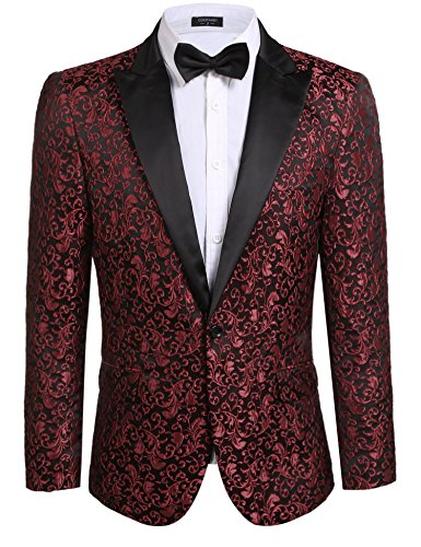 Coofandy Mens Floral Party Dress Suit Stylish Dinner Jacket Wedding Blazer One Button Tuxdeo,Red,US XL(Chest 49.6)