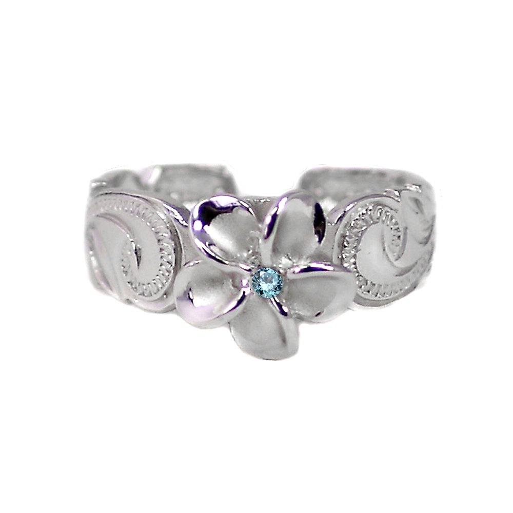 Hawaiian Sterling Silver Plumeria Toe Ring with Blue Synthetic Cz Crystal by Maile Silver