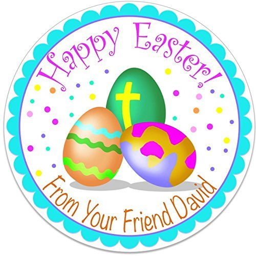 40 round labels 2 happy easter eggs personalized stickers personalized labels for easter baskets