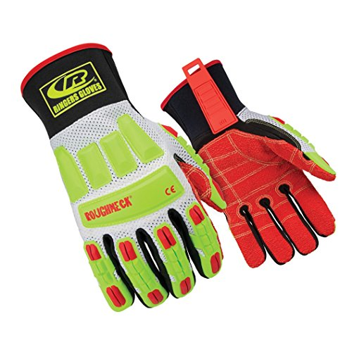 Ringers Gloves R-298 Roughneck Vented, Heavy Duty Impact Glove, Breathable Vented Mesh, CE Level 3 Cut Protection, (Ringers Impact Gloves)