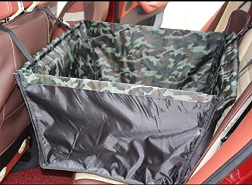 Foldable Pet Dog Backseat Cover Car Hammock Basket- Safety Car Cusion Seat Protect Mat for Dogs Cats Car Carrier (Camouflage) (Carrier Camouflage Dog)