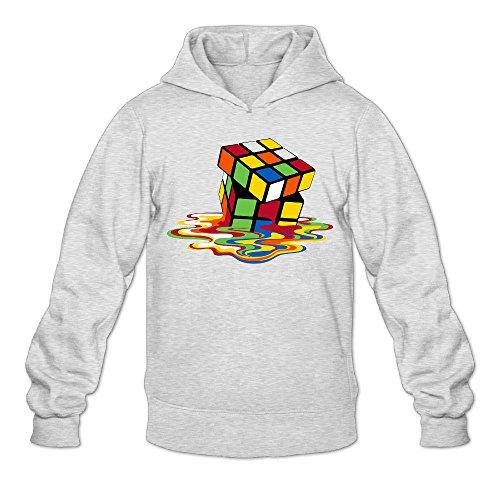 DVPHQ Men's Superior Melting Rubik's Cube Hooded Sweatshirt Size XXL Ash