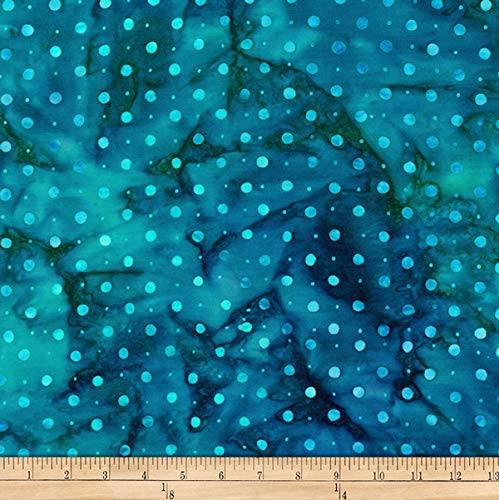 Robert Kaufman Gazebo Batik Dots Fabric, Teal, Fabric By The Yard