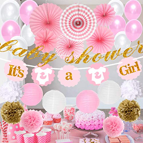 Baby Shower Decorations for Girl - It's A Girl | Banner Theme | Pink White & Glitter Gold | Decor Tissue Paper Fans Flower Pom Poms Party Supplies Tablecloth Favors Balloons -