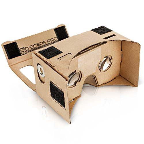 D-scope Pro Google Cardboard Kit with Straps 3D Virtual Reality Compatible with Android & Apple Easy Setup Instructions Machine Cut Quality Construction 45mm Lenses HD Visual Experience