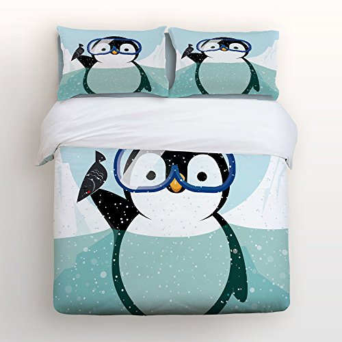 Bedding 4 Piece bed Set Comfortable Soft Brushed Cotton,Funny Penguin diving 4 Piece Bed Sheet Set Duvet Cover Flat Sheet and 2 Pillow Cases