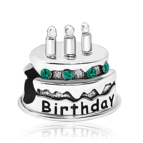JMQJewelry Birthday Cake Charm Happy Candles May Birthstone Beads For Charms Bracelets