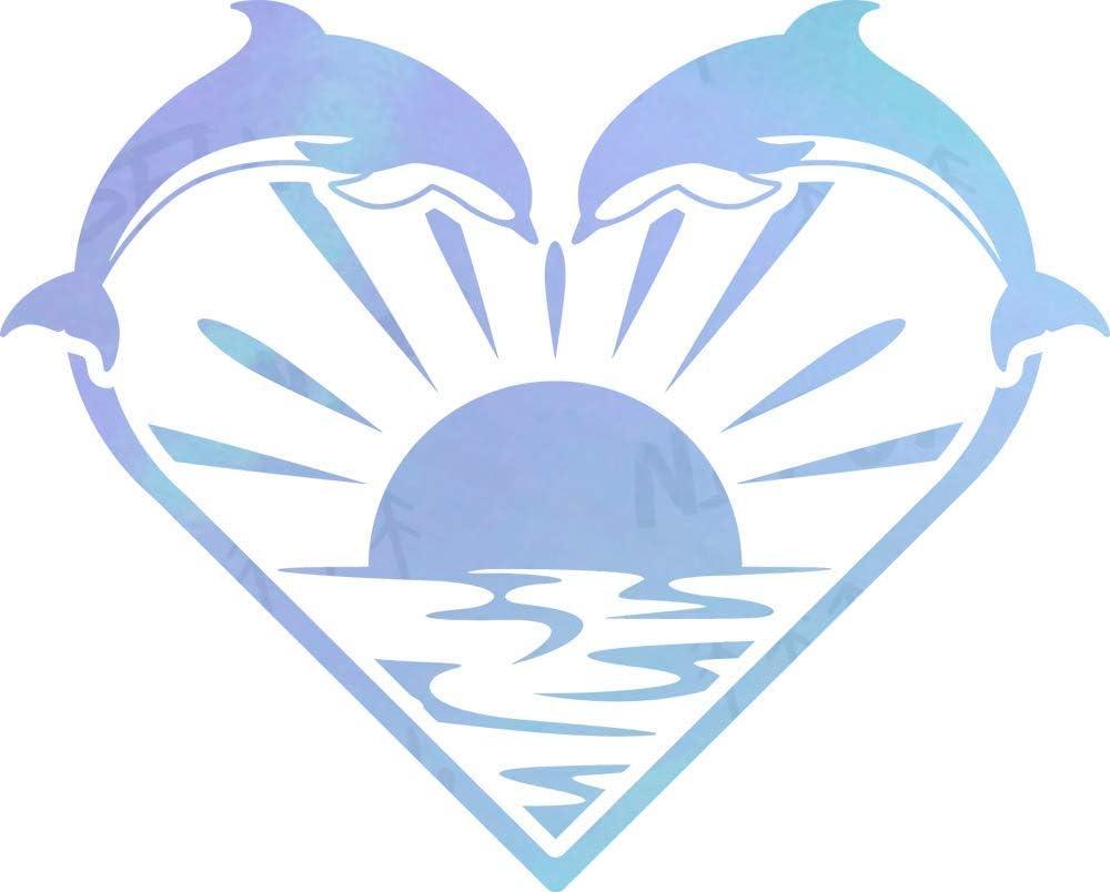 NBFU Decals Dolphin Heart Sunset Beach (Hologram) (Set of 2) Premium Waterproof Vinyl Decal Stickers for Laptop Phone Accessory Helmet Car Window Bumper Mug Tuber Cup Door Wall Decoration