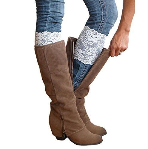 - 2 Pairs White Stretch Lace Floral Boot Cuffs Leg Warmers Socks Topper Cuff for Women