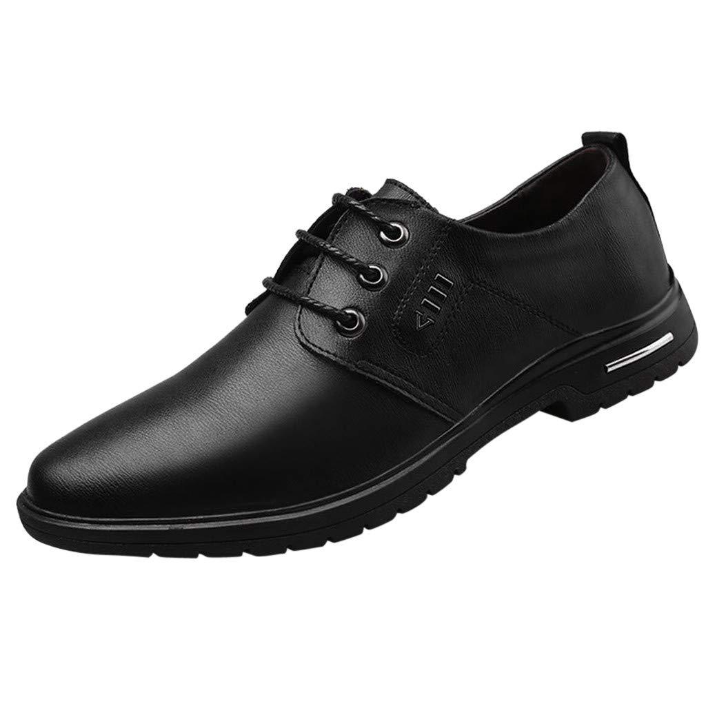 Men's Tilden Walk Oxford Fashion Casual Leather Dress Shoes Toe Lace up Oxfords Dress Shoe Miuye yuren Black