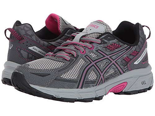 ASICS Women's Gel-Venture 6 Running-Shoes,Carbon/Black/Pink Peacock,10 D US