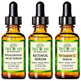 ToLB 72% Organic Anti Aging Serum Combo Pack - Vitamin C Serum, Retinol Serum and Hyaluronic Acid Serum