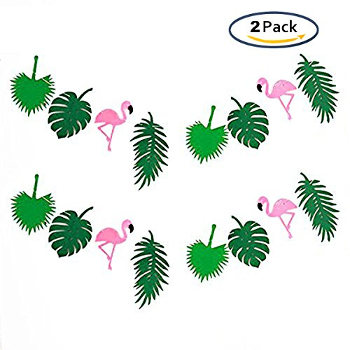 KEFAN 2 Pack Summer Tropical Non-woven Fabric Garland Party Hanging Decoration Banner for Hawaii Luau Party (Leaf Banner)
