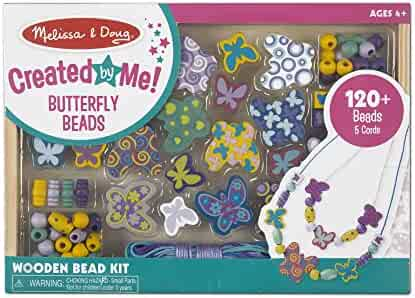 Melissa & Doug Butterfly Friends Bead Set (Arts & Crafts, Handy Wooden Tray, 120 Beads & 5 Colored Cords)