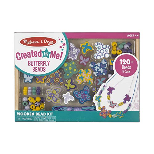(Melissa & Doug Butterfly Friends Bead Set (Arts & Crafts, Handy Wooden Tray, 120 Beads and 5 Colored Cords))