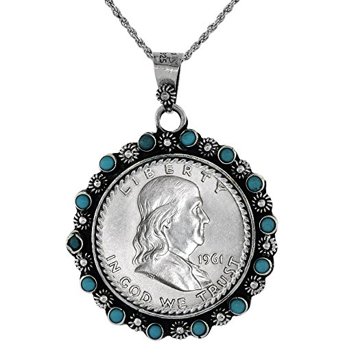 Sterling Silver Franklin Half Dollar Coin Necklace Prong Back Flower Edge Blue Beads 1948 - 63