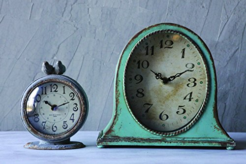 Creative Co-op Metal Aqua Finish Mantel Clock - Metal construction Requires 1AA battery (not included) Back is flat and has the same color as the front - clocks, bedroom-decor, bedroom - 51IY1ZGK73L -