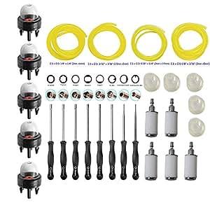 ouyfilters carburador ajuste ajuste kit de herramientas de destornillador de ajuste (con punta filtro de combustible línea primer bombilla para 2ciclo pequeño motor Craftsman Stihl Poulan Husqvarna