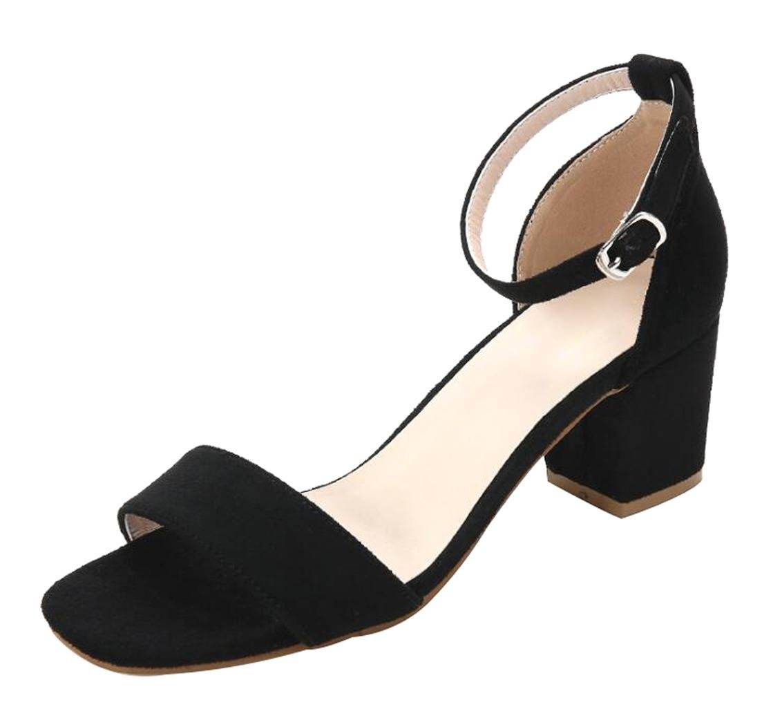 CAMSSOO Women's Classic Square Peep Toe Strappy Ankle Buckle Shoes Chunk Low Heeled Pumps Sandals Black Velveteen Size US8.5 EU40