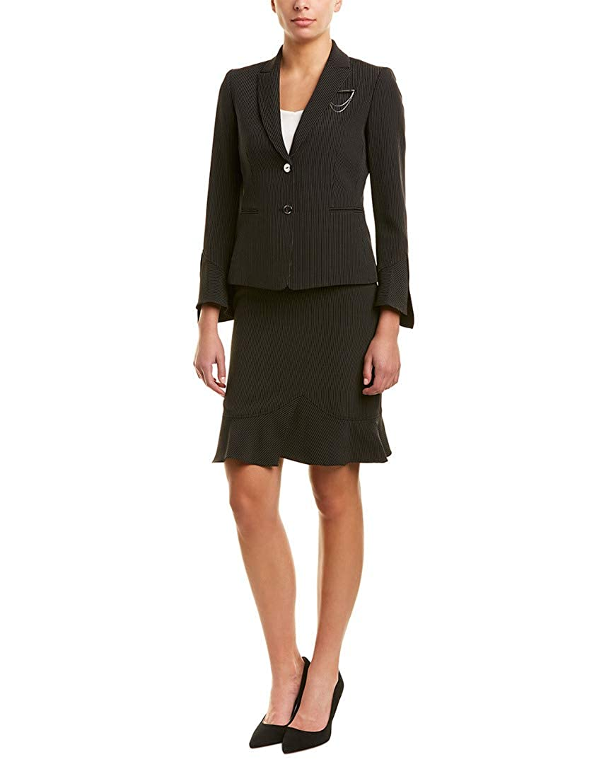Tahari ASL Womens Peak Lapel Two-Button Besom Pocket Flutter Sleeve Skirt Suit Breast Pin Tahari by ASL