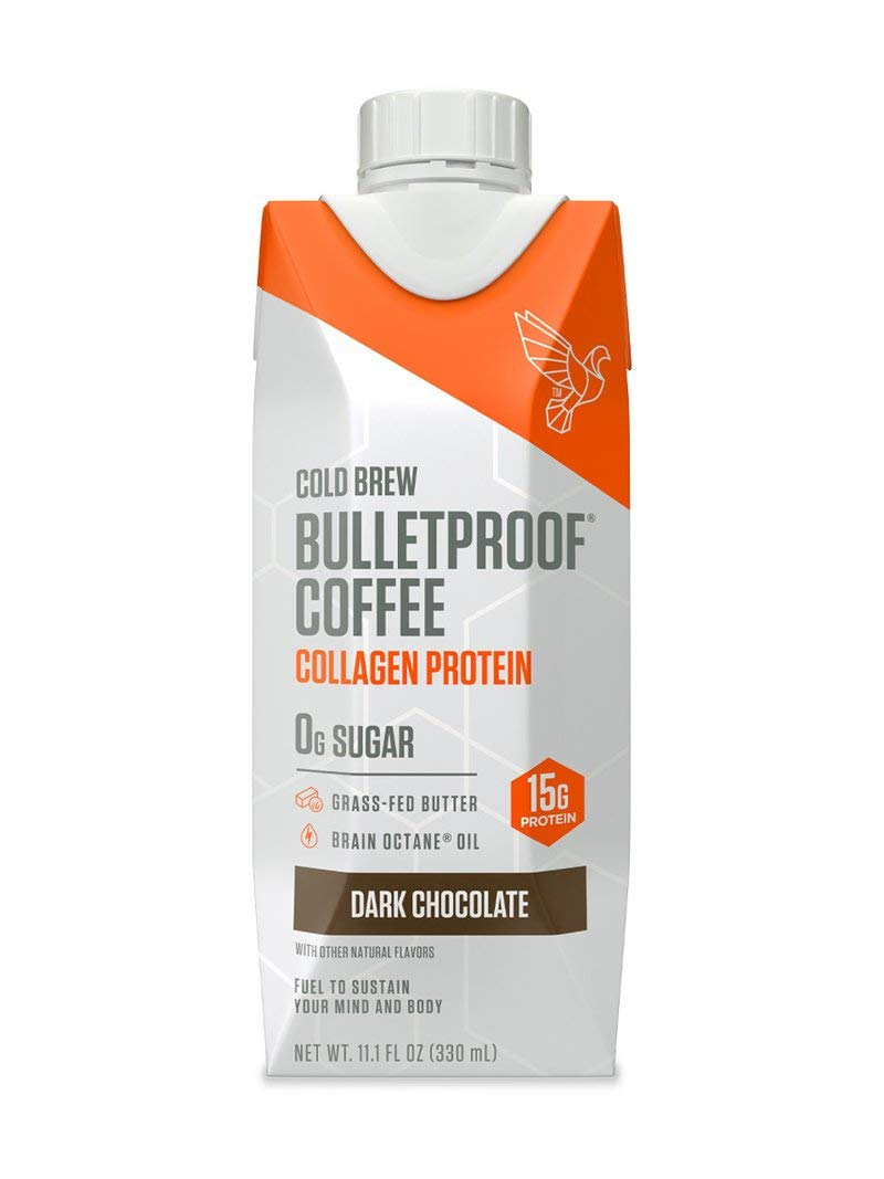 Bulletproof Cold Brew Coffee Plus Collagen, Dark Chocolate flavor, Keto Friendly, Sugar Free, with Brain Octane Oil and Grass-fed Butter (12 pack)