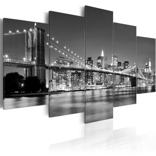 XXL Format + Bilder XXL & Fertig Aufgespannt & Top Vlies Leiwand + 5 Teilig + New York + Wand Bilder 030211-51 + 200x100 cm +++ B&D XXL + Riesen Bilder Kunstdruck Wandbild +++