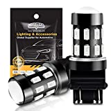 3157 LED Bulbs, LIGHSTA Super Bright 24-SMD 9-30V 3056 3156 3057 4057 3157K 4157 LED Bulbs with Projector for Brake Tail Lights, Turn Signal Blinker Stop Lights, Brilliant Red(Pack of 2)
