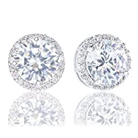 18k Gold Plated Cubic Zirconia Round Halo Stud Earrings (3.45 carats)