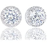Orrous & Co. 18k Cubic Zirconia Earrings - Beautiful White Gold Plated Studs - 3.45 Carats Round Cut Cubic Zirconia- Halo Shaped Gemstone - Beautiful and Elegant Present Idea