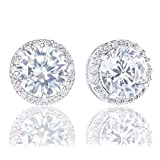 #7: 18k Gold Plated Cubic Zirconia Round Halo Stud Earrings (3.45 carats)