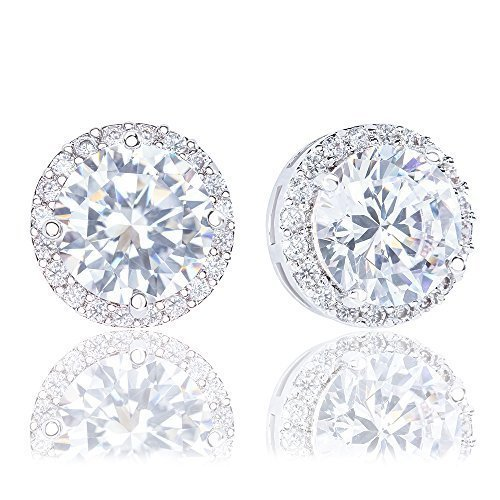 White Ring Nordstrom - ORROUS & CO Women's 18K Gold Plated Cubic Zirconia Round Halo Stud Earrings (3.45 carats)